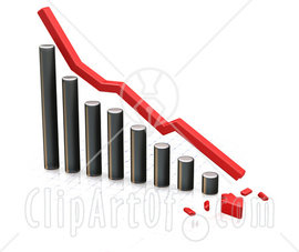 24938-Clipart-Illustration-Of-A-Decreasing-Chrome-Bar-Graph-With-A-Red-Line-And-A-Broken-Arrow-On-The-Bottom-Over-White